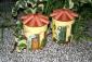 Vaso portatutto in terracotta con decoupage