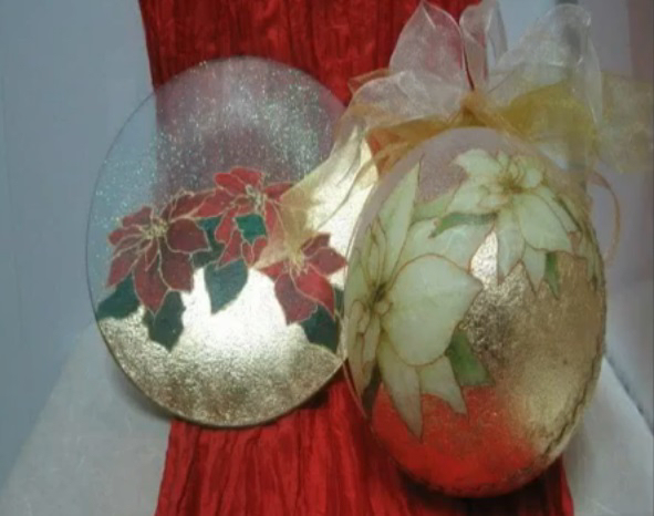 Centrotavola Stella Di Natale.Centrotavola Con Stella Di Natale E Foglia D Oro Bricolageonline Net
